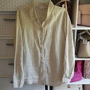 Kim Rogers 100% Linen Long Sleeve Top Size Large